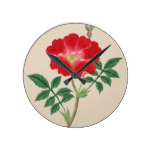 Red Bell Flower Vintage Botanical Print Round Clock