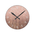 Rustic brown wood modern rose gold glitter ombre round clock
