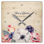 Rustic Light Wood Summer Blossom and Blueberries Square Wall Clock