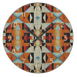Rustic Native American Indian Cabin Mosaic Pattern Large Clock