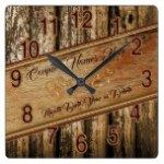 Rustic Personalized Wedding Gifts for Couple Square Wall Clock
