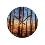 Sunset Forest Trees Round Clock