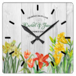 Watercolor Spring Flowers Floral Art Square Wall Clock