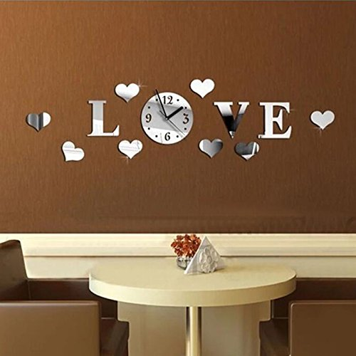 Clocks – Honana Dx-X2 Creative Love Acrylic Mirror Wall Sticker Quartz Clocks Watch Home Decor – Passion Fence Label Enjoy Palisade Gummed Beloved Rampart Dear Surround Dearest Bulwark – 1PCs