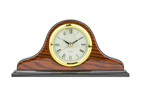 Mantel Clock 5.0″ H x 9.5″L x 2.0″ W Quartz, Decorative Shelf Clock, Fireplace Wood Antique Vintage Clocks, Battery Operated (Battery NOT INCLUDED)