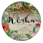 Aloha Tropical Wood Floral Leaves & Lights Chic Large Clock
