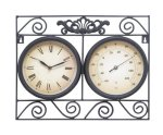 Deco 79 35417 Metal Outdoor Clock Thermometer, 17 by 14-Inch