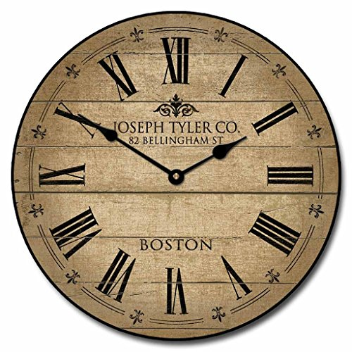 Barnwood Tan Wall Clock, Available in 8 sizes, Most Sizes Ship the Next Business Day, Whisper Quiet.