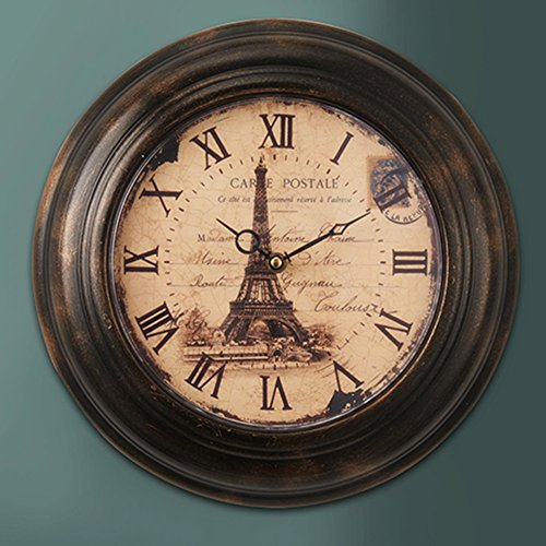 LightInTheBox Retro Design Wall Clock Home Decor Eiffel Tower Background Roman Numeral 12 Inch Round Clock Brown AA Battery Large Decor