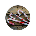 Chrstmas Candy Canes on Vintage Wood Round Clock
