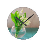 Lily of the valley in vase round clock