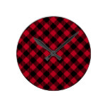 Red And Black Check Buffalo Plaid Pattern Round Clock