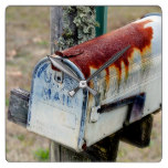 Rustic Mailbox Square Wall Clock