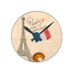 Vintage France Paris Eiffel Tower Round Clock