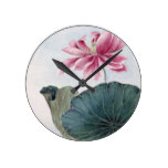 Watercolour Lotus Painting Round Clock