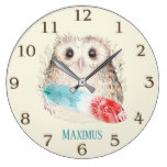Whimsical Watercolor Owl Teal and Red Feather Large Clock