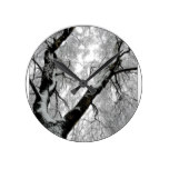 Winter Trees Branch Frost Round Clock