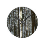 Woodland Fir Trees Rustic Round Clock
