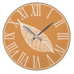 Autumn Fall White Leaf Skeleton Large Clock