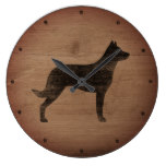 Beauceron Silhouette Rustic Style Large Clock