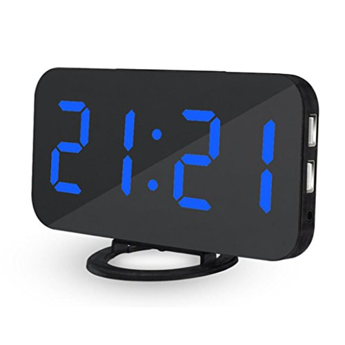 Yeefant High Sensitive Light Sensor LED Digital Alarm Clock With USB Port For Charger Touch-Activited Snooze,Outlet Powered And Battery for Iphone and Android Phone Charging,Blue,US Charger