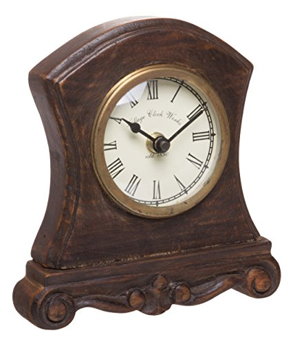 Red Co. Antique Inspired Wooden Table Top Analog Clock, Mantelpiece, Small, 6-inch