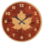 Maple Leaf On Inner Birch Bark Large Clock