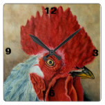Watercolor Rooster clock by Gerald Tierney