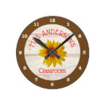 Yellow Daisies on Rustic Shiplap | Classroom Round Clock