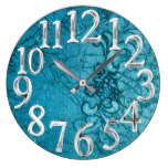 22, Faux Leather Embossed Floral Blue Large Clock