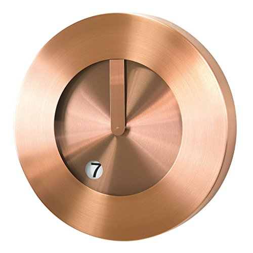 Time Concept 12″ Round Futuristic Wall Clock – Copper – Metal Steel Frame, 1 x AA Battery Operated