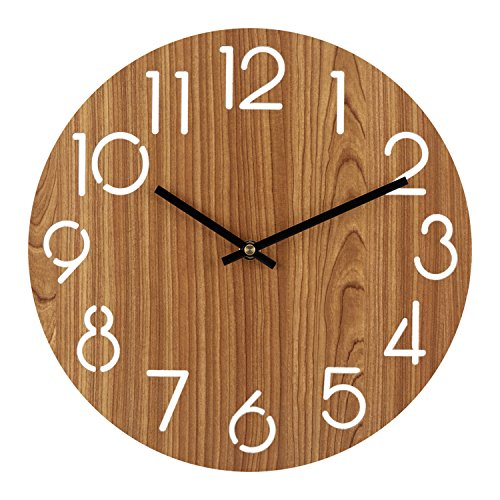 Ryuan 12 inch Wall Clock, Quartz Silent Non ticking Decorative wooden Battery Operated Analog, Vintage Rustic Country Tuscan Style for Living Room, Kitchen, Home, Office (Arabic Numeral)