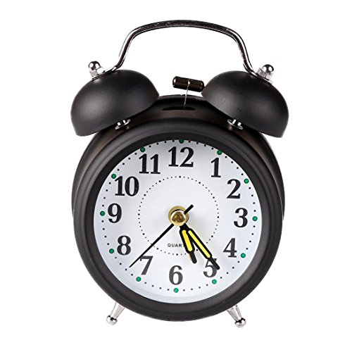 Yeefant Classic Modern Metal Shell Two-Way Bell Creative Travel Cute Portable Desk Creative Digital Alarm Wall Clock Cute Portable Clock Decor for Living Room Bedroom,Black