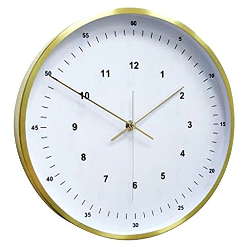 Time Concept 12″ Round Decorative Wall Clock – Sleek – Aluminum Frame, 1 x AA Battery Operated