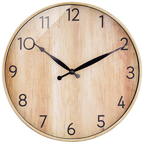 BELIFE 12″ Arabic Numeral Design Rustic Country Tuscan Style Round Wall Clock,Universal Non-Ticking Wall Clock Quiet Sweep Movement-Without A Second Hand
