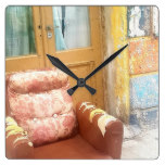 BROKEN CHAIRS 3 SQUARE WALL CLOCK