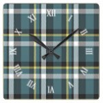 Classic Teal Blue Yellow Tartan Plaid Stripes Square Wall Clock