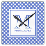 navy Blue Country Style Gingham Pattern Monogram Square Wall Clock