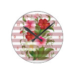 White and Pink Watercolor Hibiscus Flowers Round Clock