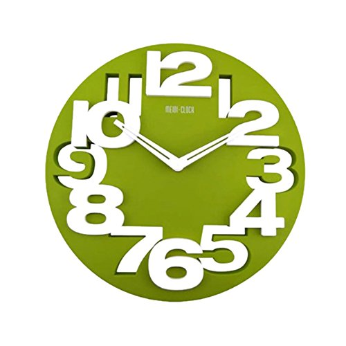xihaiying 12 Inch Large Green Round Children Wall Clock,Non Ticking Battery Operated Decorative Clocks For Bedroom Living Room Bathroom Kitchen