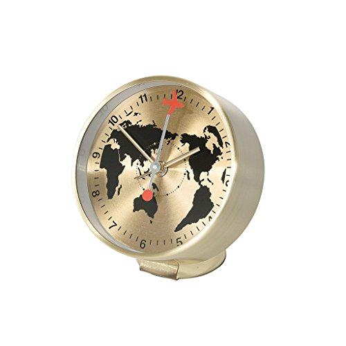 Time Concept Round Globe Bedside Alarm Clock – Gold – Metal Steel Frame, 1 x AA Battery Operated