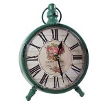 KiaoTime Retro Vintage Table Clock,Decorative Flower Design Table Clock,Silent No Ticking Antique Table Desk Clock for Home Garden French Country House Farm House, Green Color (Green)