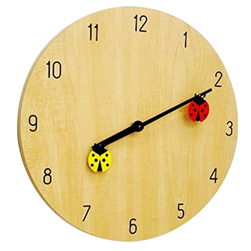 Time Concept 12″ Round Decorative Wall Clock – Ladybug – Wood Frame, 1 x AA Battery Operated