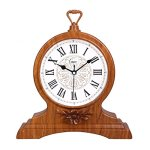 HAOFAY Retro Vintage Mantel/European Yellow Wood Roman Numeral Silent Quartz Clock Desk and Shelf Clock Decoration, Countertop Table Clock