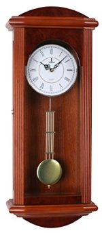Stay Fresh Best Pendulum Wall Clock, Silent Decorative Wood Clock With Swinging Pendulum, Battery Operated, Large Red Wooden Design, For Living Room, Kitchen, Office & Home D?cor, 26.75 x 11.5 inches