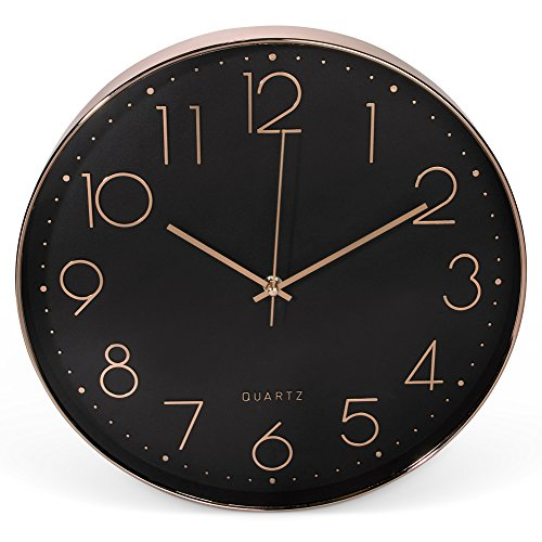 Clockz 14 inch Rose Gold and Black Decorative Wall Clock, Battery operated hanging Timepiece by Silent clock for Living room, Bedroom Kitchen, Office or Study – Elegant, Industrial, Multifunctional