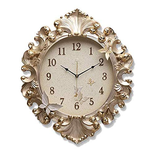 YZ-YUAN Wall Clock Quality Gold Foil Rustic Country Chic Retro Style Non-Ticking Wooden Clock Kitchen Livingroom Bedroom Decoration