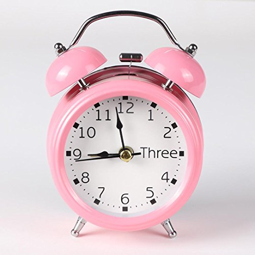 BB67 Classic Clock Simple Metal Shell Two-Way Bell Alarm Clock Home Decoration for Kids and Teens (Pink)