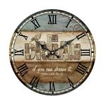 HUABEI Wooden Wall Clock 14 Inch Atomic Analog Battery Operated Silent Non Ticking – Vintage Rustic Roman Numerals Large Decorative for Home Bedroom Office Cafe