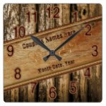 Personalized Rustic Wedding Gifts, faux Wood Clock